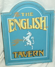 The English Tavern Wooden Sign