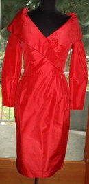 Red Silk Off the Soulders Cocktail  Dress , A.J. Bari for Neiman Marcus size 8  VINTAGE