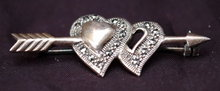 Sterling Silver  & Marcasite Arrow Heart Pin