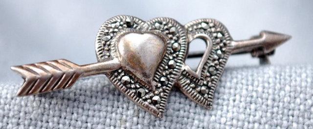 Sterling Silver  & Marcasite Arrow Heart Pin