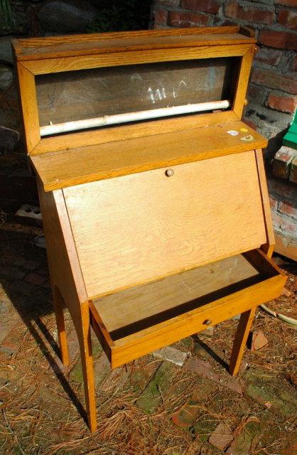 Oak Child's Slant Front Desk  with drawer & etc