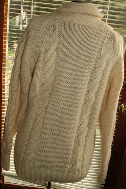 Cable Knit Shawl Collar Cardigan Sweater- 100% Wool Vintage Hastings