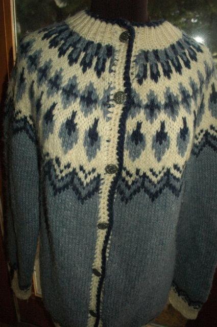 Slate Blue Icelandic Wool Sweater    Large