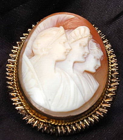 Shell Cameo, Hand Carved 3 Women /Brooch Pendant