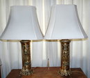 Pair Oriental Chinese Brass Lamps with Shades Mid Century Retro