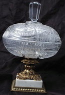 Finely Cut Crystal Compote with Lid Italian Marble Base  *PRICE REDUCED *!!