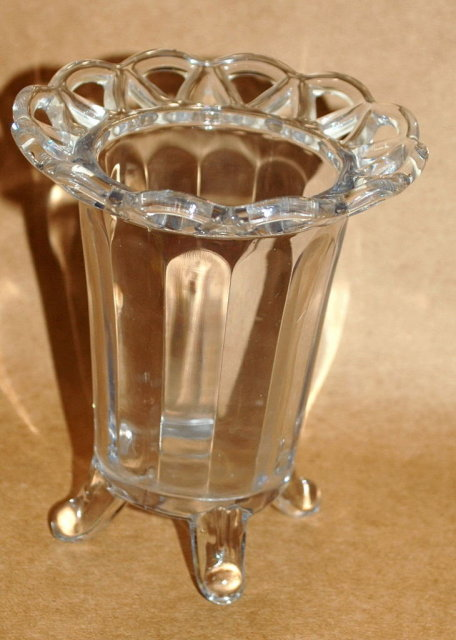 Imperial  Glass Celery Vase, paneled glass with open lace work rim