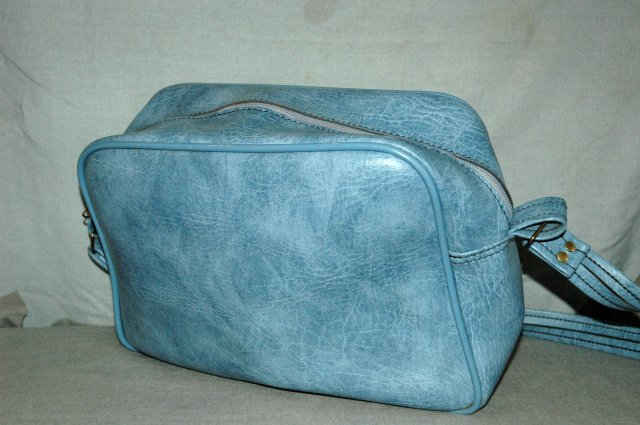 Retro Vintage Carry on luggage Shoulder Bag, Blue Vinyl