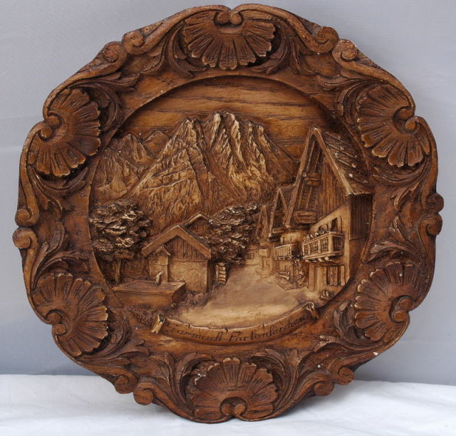 Carved Wood  Plaque Twin Towns of Garmisch & Partenkirchen * PRICE REDUCED !*