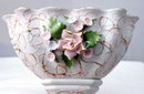 Lefton Compote Hand Painted  Pink/Gold with Raised Flowers