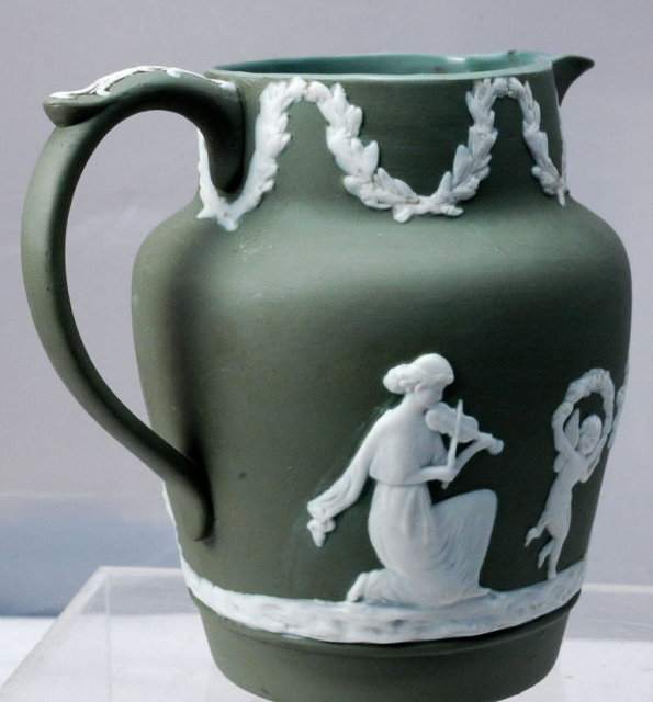 Sage Green Jasperware  Pitcher Numbered  Jasper Ware