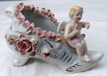 Wales Porcelain Boy Angel On Flowered Shoe