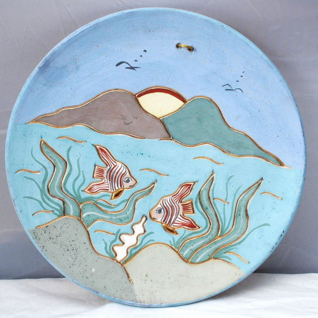 Ceramica Gardiel  of Mexico  Fish & Mountains Scene Plate with 24k Gold details