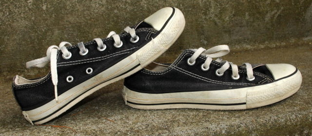 Black Vintage Converse Low top All Star Sneakers  4
