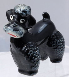 Black Poodle Figurine, black ceramic pottery