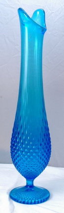 Large Fenton  Blue Glass Vase Swung  Stretch Hobnail 15.5
