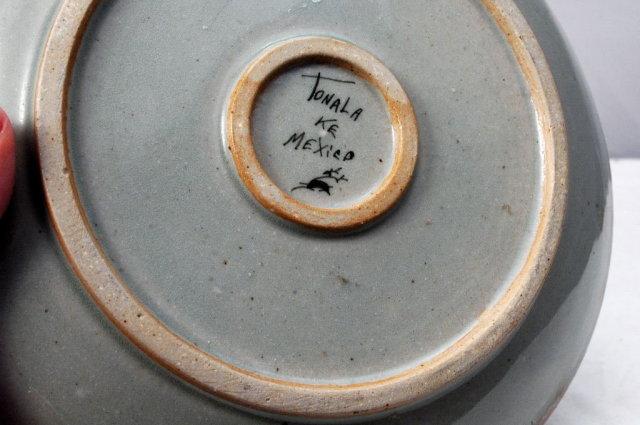 Tonala Mexican Stoneware Pottery Dish  Signed KE  8.5