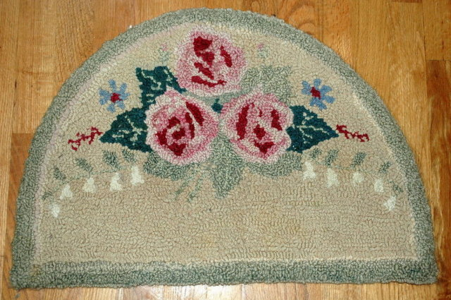 Vintage Hooked Floral Hearth Rug, Wool, hand made