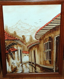 Narrow Latin Street Scene Oil  Painting on Canvas
