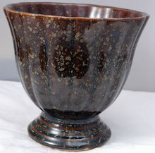 Deco Brush Footed  Pottery Bowl    Brown Glaze with Speckles