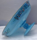 Blue Frosted Glass Pedestal  Open Compote with hand painted design /gold trim