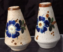 Tonala Mexican Stoneware Hand painted  Salt and Pepper Shakers Souvenir
