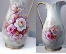 Tall Porcelain  Ewer  Pitcher, Hand Painted   **PRICE REDUCTION**!Flowers with Gold Trim