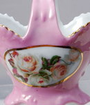 GERMAN PORCELAIN BASKET Hand painted Roses & Gold Leaf