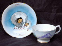 Clarence Bone China Nome  Alaska  Eskimo Theme Tea Cup & Saucer