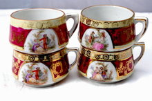 4  Demitasse Cup Romantic Colonial Scenes with Gold Gilding