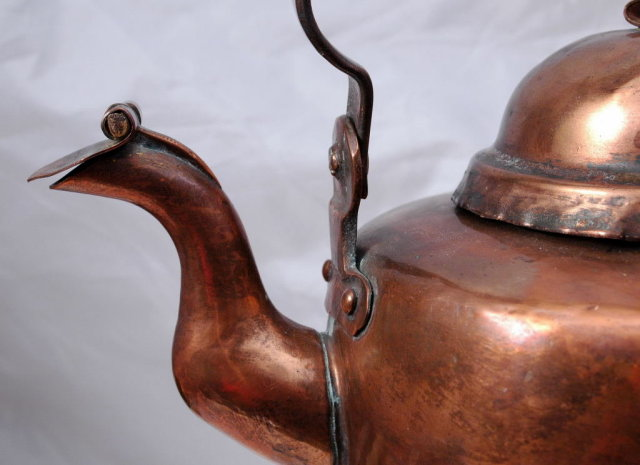 Norwegian Hammered Copper Tea Kettle hand crafted signed P. Aunøien  ( to use on a wood stove)