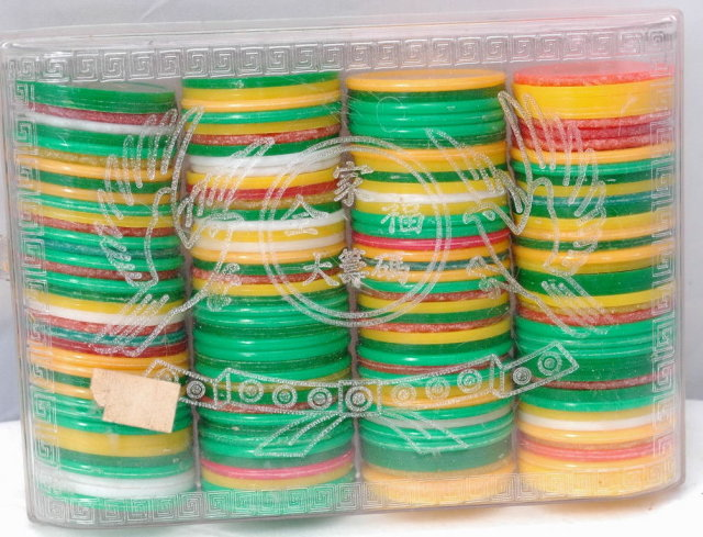 Chinese Gambling Game Chips in Clear  Plastic  Box Rack * PRICE REDUCED !*