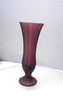 Amethyst Satin Frost Glass Bud Vase  with Embossed Signaure PRICE REDUCTION!
