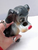 Dog  Sewing Tape Measure &  Scissors Holder  Keeper  Figural Ceramics