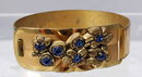 Blue Rhinestones & Wide Brass Hinged  Bangle Bracelet   -Vintage