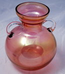 Pink Cranberry Blush  Flash Glass Jardiniere Vase