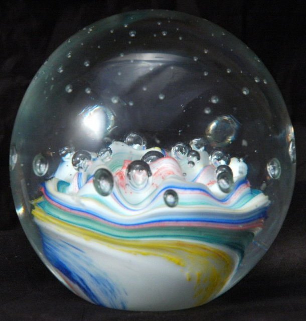 Swirled Cane Controlled Bubble Paperweight