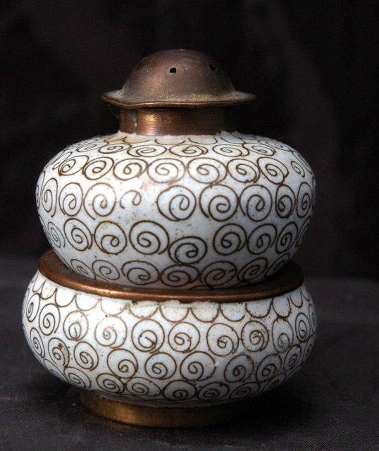 Chinese Export  Stacking Cloisonne   Salt Cellar & Pepper Shaker