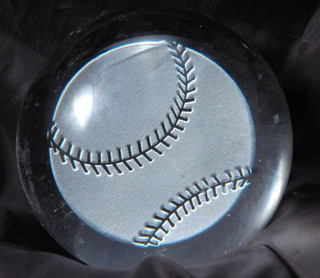 Laser Etched Baseball  Crystal Glass Dome Paperweight.PRICE REDUCTION!