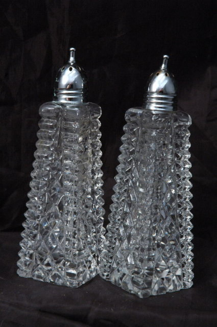 Crystal  Glass   Salt & Pepper Shakers  Tall Pressed Polished