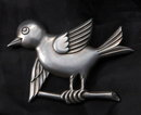 TRUART Sterling Silver Large Bird on Branch Pin Brooch