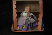 Little Flower Girl Doll Figurine in Box  /Composition/ Googly Eyes