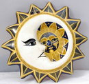 SSmall Mexican Sun Moon Pottery Wall Plaque