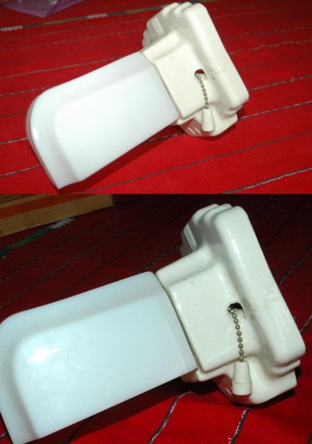 Art Deco Porcelain & Glass Shade  Bathroom Shaving Mirror Light Fixture * PRICE REDUCED !*