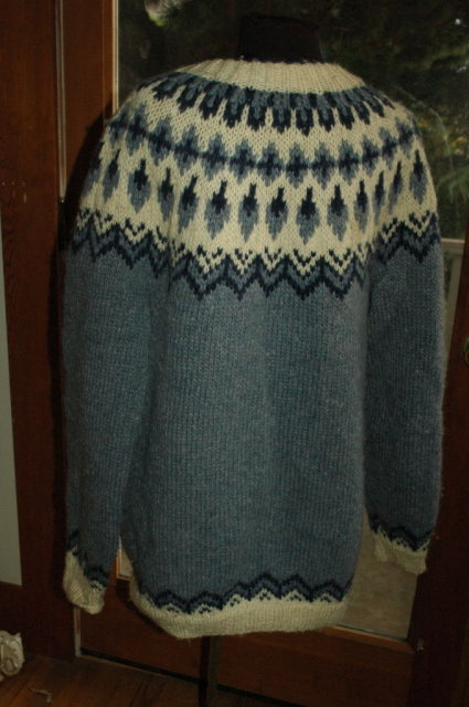 Icelandic Wool Cardigan Sweater,Handknit  Blue/White large