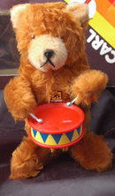 Plush wind-up bear playing cymbals, Carl Original  West Germany in box