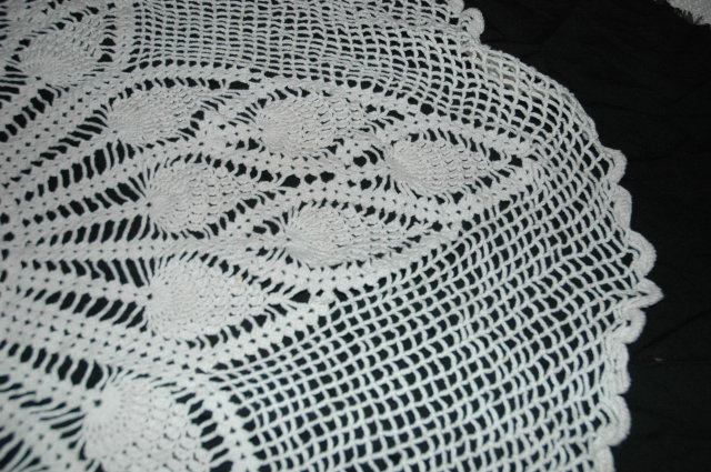 Round Hand Crocheted Tea  Table Linen 42