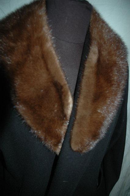 Black Cashmere Shawl Opera  Coat with Mink Collar