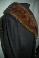 Black Cashmere Shawl Opera  Coat with Mink Collar