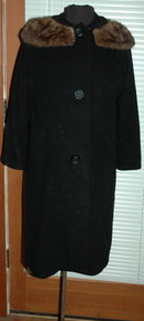 Black Cashmere   Coat with Mink Collar